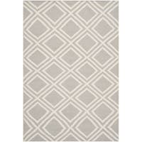 Safavieh Hand-woven Moroccan Reversible Dhurries Contemporary Grey/ Ivory Wool Rug - 4' x 6'