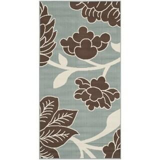 Safavieh Hampton Indoor/ Outdoor Stain Resistant Light Blue/ Brown Area Rug (4' x 6')
