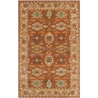 Safavieh Handmade Heritage Timeless Traditional Rust/ Beige Wool Rug - 4' x 6'