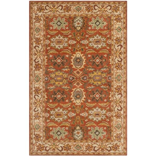 Safavieh Handmade Heritage Timeless Traditional Rust/ Beige Wool Rug - 4' x 6'