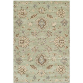 Safavieh Handmade Wyndham Light Green Wool Rug (4' x 6')