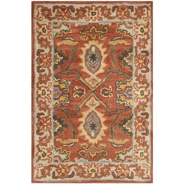 Safavieh Handmade Heritage Timeless Traditional Rust/ Beige Wool Rug - 3' x 5'