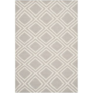 Safavieh Handwoven Moroccan Reversible Dhurries Contemporary Grey/ Ivory Wool Rug - 5' x 8'