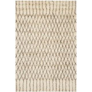Safavieh Handmade Casablanca Shag Venita Tribal Wool Rug (6 x 9 - Ivory/Grey)