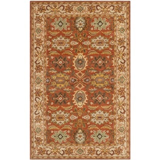 Safavieh Handmade Heritage Timeless Traditional Rust/ Beige Wool Rug (6' x 9')