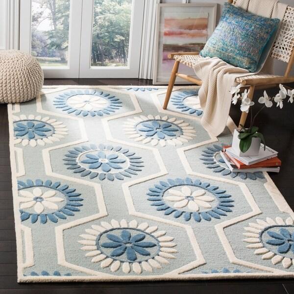Safavieh Handmade Moroccan Cambridge Blue/ Ivory Wool Area Rug - 8' x 10'