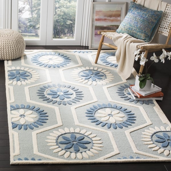 Safavieh Moroccan Blue And Black Area Rug: Safavieh Handmade Moroccan Cambridge Blue/ Ivory Wool Area