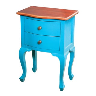 Blue Finish Accent Chest with Honey Finish Top
