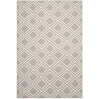 Safavieh Hand-woven Moroccan Reversible Dhurries Grey/ Ivory Wool Rug (8' x 10')