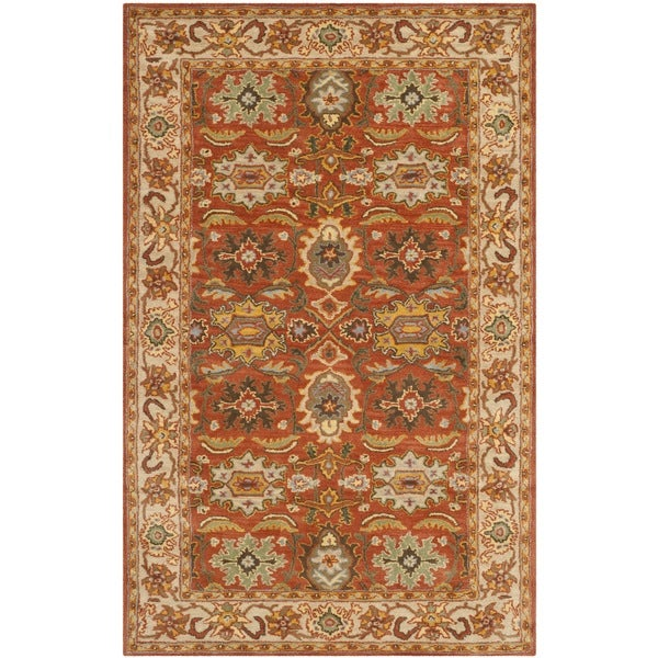 Safavieh Handmade Heritage Timeless Traditional Rust/ Beige Wool Rug - 7'6 x 9'6
