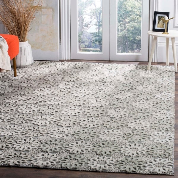 Safavieh Handmade Manhattan Grey/ Ivory Wool Rug - 8' x 10'