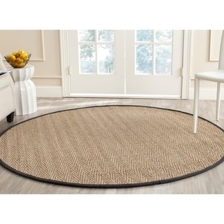 Safavieh Casual Natural Fiber Natural / Black Seagrass Rug (6' Round)