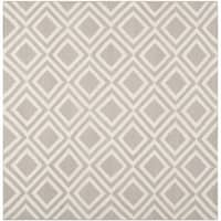 Safavieh Handwoven Contemporary Moroccan Reversible Dhurries Grey/ Ivory Wool Area Rug (6' Square)