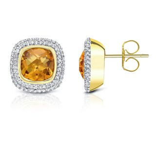 14k Two-tone Gold 1/2ct TDW Citrine and Diamond Earrings (H-I, SI1-SI2)