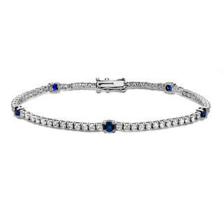 Auriya 14k Gold 2 1/4ct TW Blue Sapphire and Diamond Tennis Bracelet (H-I, SI1-SI2)