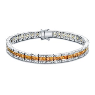 Auriya 14k Gold 2ct TW Yellow Sapphire and Diamond Tennis Bracelet (H-I, SI1-SI2)