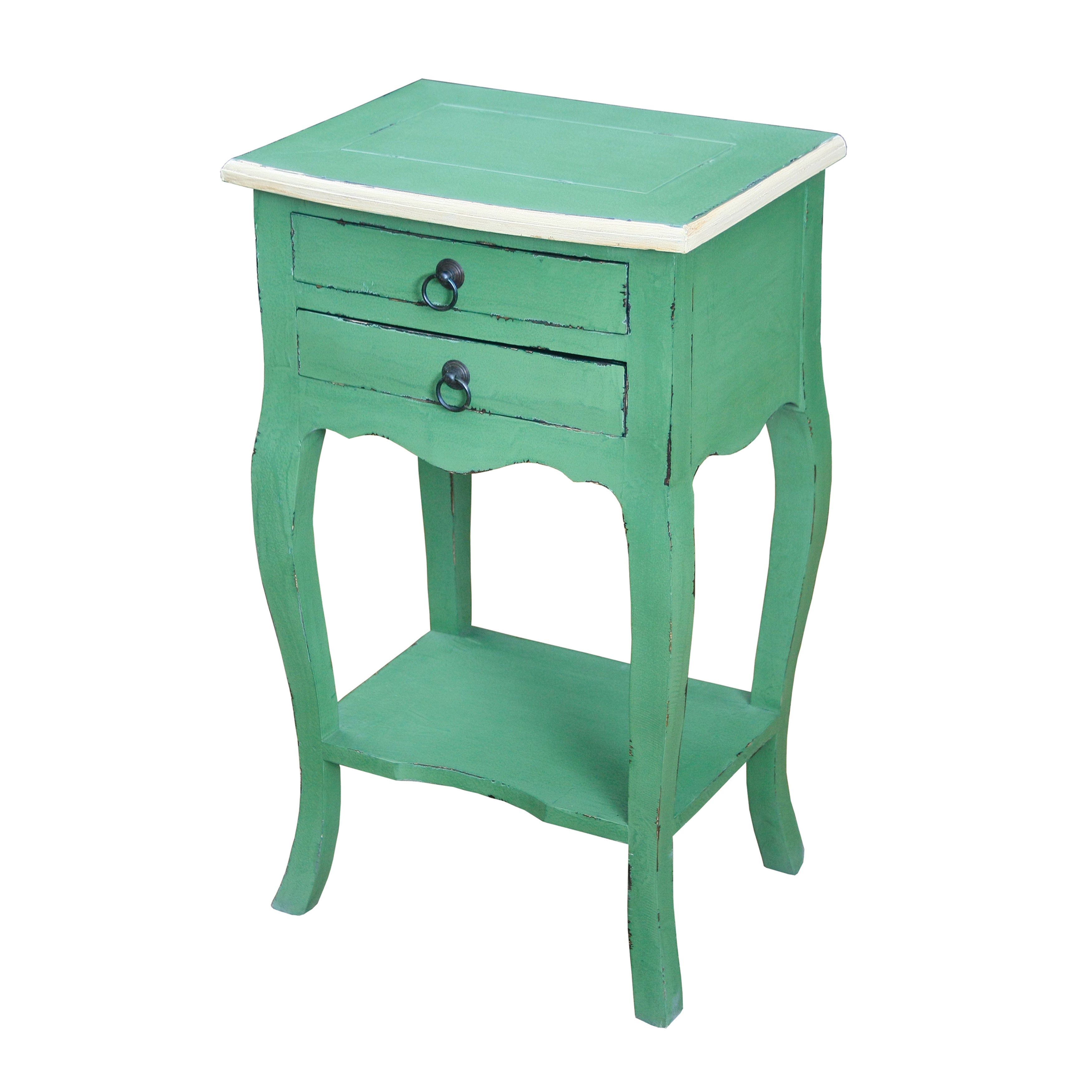 - Shop Distressed Green Finish Accent Table With Cream Trim - Free