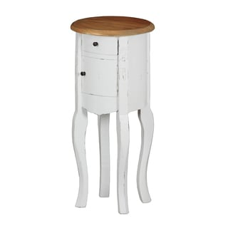 Distressed White Finish Round Accent Table with Honey Finish Top