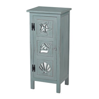 Distressed Vintage Sea Green Finish and Mirrored Accent Chest