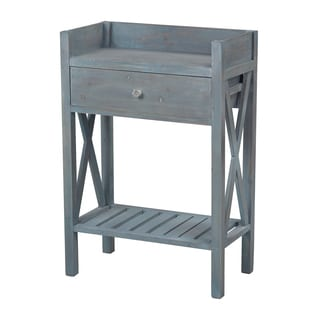 Distressed Vintage Blue Finish Accent Table