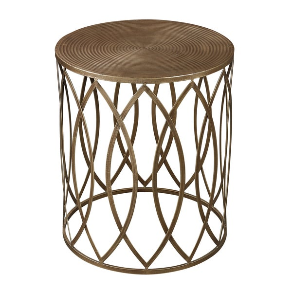 Exceptional Antique Gold Finish Round Metal Accent Table
