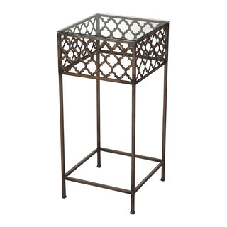 Antique Bronze Finish Large Metal Accent Table with Glass Top