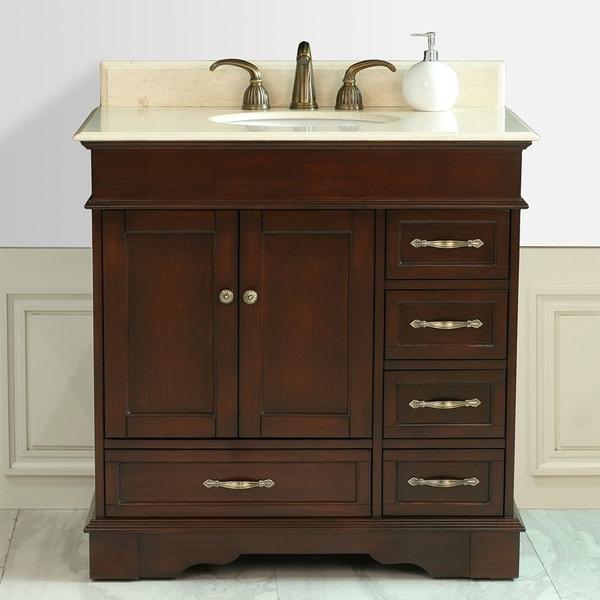 Shop Virtu USA Oxford 36-inch Single Sink Right Side