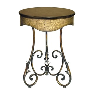 Golden Bronze Finish Round Accent Table