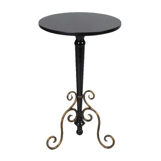 Black Finish Round Accent Table
