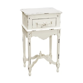 Distressed Hand Painted Antique White Finish Accent Chest