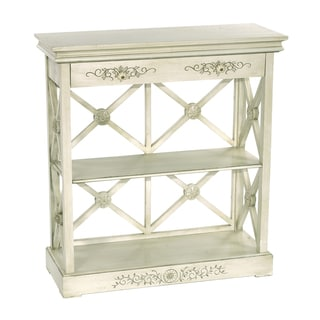 Distressed Hand Painted Vintage Ivory Finish Accent Chest