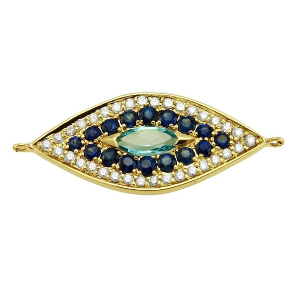 14k Yellow Gold 7/8ct Diamonds and Blue Sapphire Evil Eye Bracelet by Beverly Hills Charm. Opens flyout.