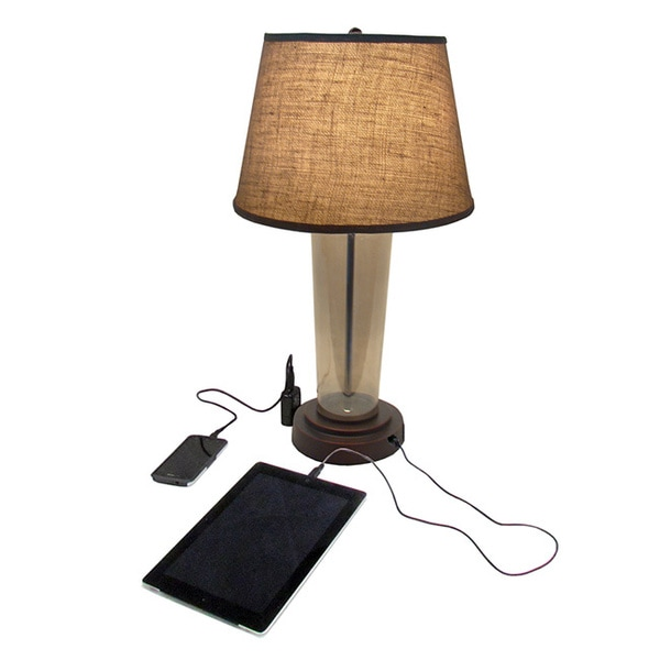 Table Lamps With Usb : Elight glass usb charger table lamp free shipping today