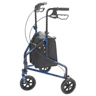 Drive Medical 3-wheel Flame Blue Walker Rollator with Basket Tray and Pouch