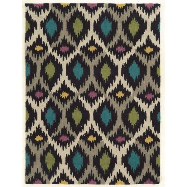 Linon Trio Collection Dark Ikat Rug (8' x 10')