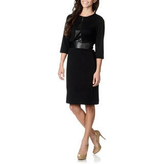 Lennie for Nina Leonard Women's Black Leatherette Waist Dress