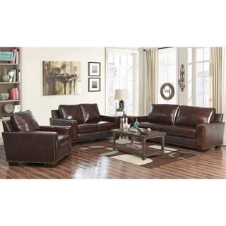 Abbyson Barrington Top Grain Leather 3 Piece Living Room Set