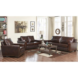 Abbyson Barrington 3 Piece Hand Rubbed Leather Sofa Loveseat and Armchair