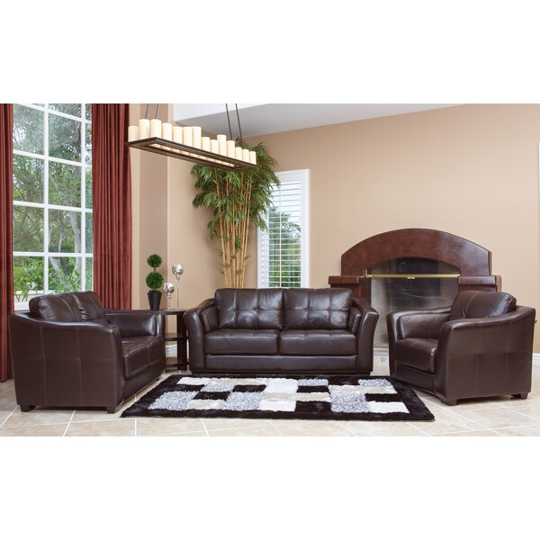Abbyson Living Torrance Premium High Grade Dark Brown Leather 3 Piece  Living Room Furniture