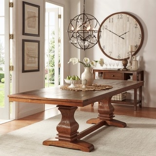 Tribecca Home Atelier Burnished Brown Pedestal Extending Dining Table