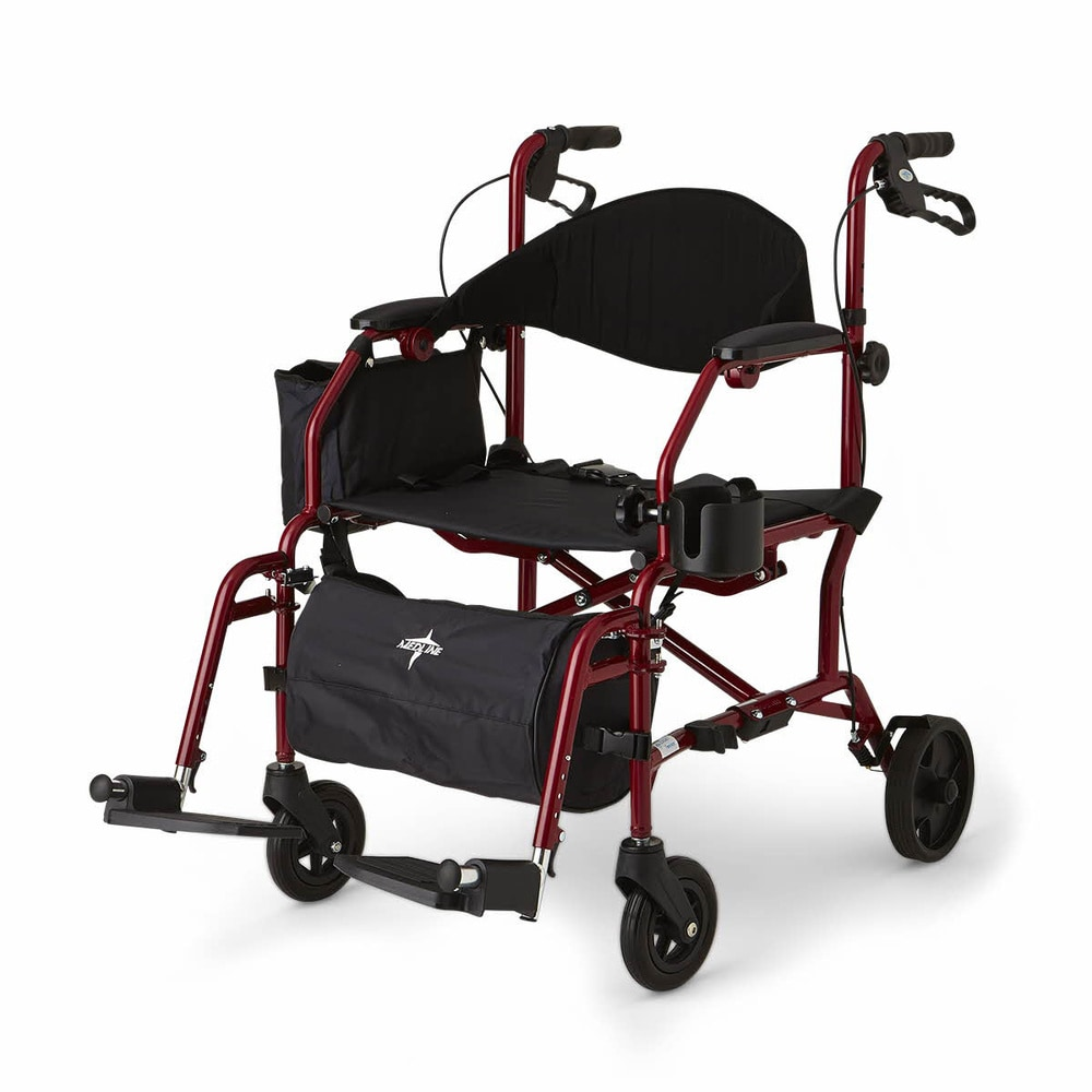 Medline Translator Combination Transport Chair and Rollator (Red)