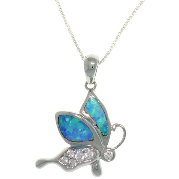 Sterling Silver Created Opal and CZ Playful Butterfly Necklace - Blue