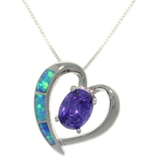 Carolina Glamour Collection Sterling Silver Created Opal and Purple CZ Elegant Heart Necklace