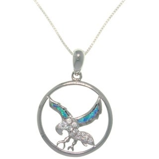 Sterling Silver Created Opal and CZ South Western Eagle In Flight Necklace - Blue