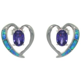 Carolina Glamour Collection Sterling Silver Created Opal and Purple CZ Elegant Heart Earrings