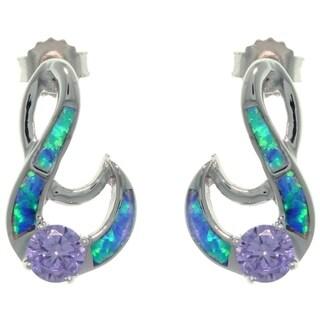 Sterling Silver Created Opal and Purple CZ Fancy Swirl Earrings