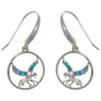 Sterling Silver Created Opal and CZ South Western Eagle In Flight Earrings