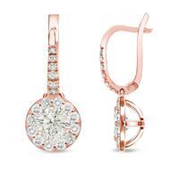 Auriya 14k Rose Gold 3/4ct TDW Round Halo Diamond Leverback Earrings