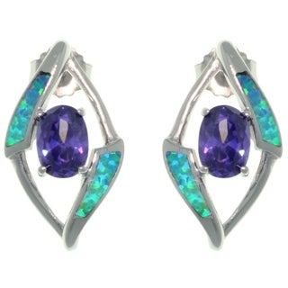 Carolina Glamour Collection Sterling Silver Created Opal and Purple CZ Fancy Diamond-Shape Design Earrings
