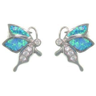 Carolina Glamour Collection Sterling Silver Created Opal and CZ Playful Butterfly Earrings